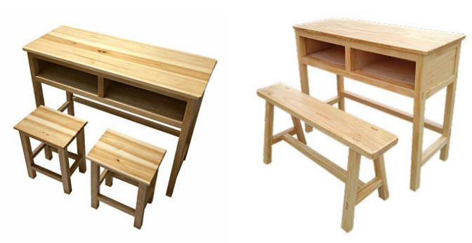 双人实木课桌椅